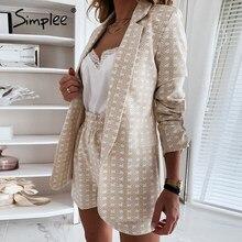 Simplee-blazer elegante de dos piezas para mujer, conjunto de manga larga para oficina, blazer estampado geométrico, pantalones cortos