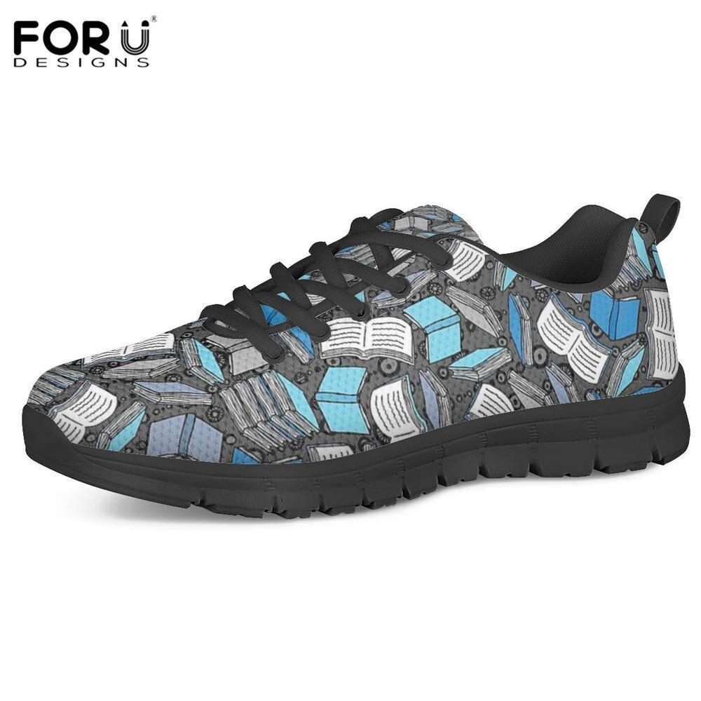 FORUDESIGNS/3D исследование времени книга печати дамы повседневное Слипоны женские плоские кроссовки сетка мягкая прогулочная обувь zapatos mujer