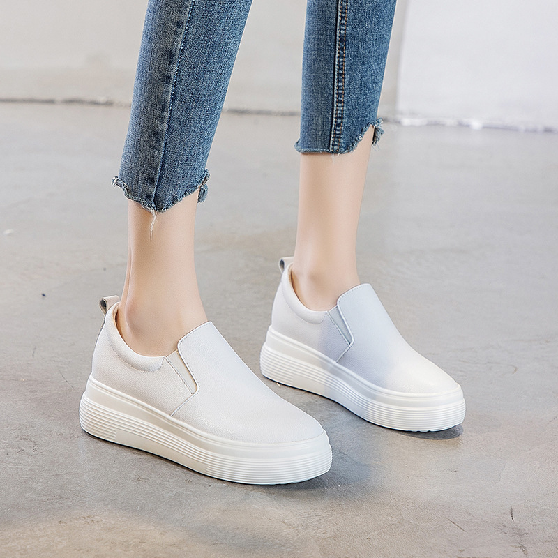 Platform Shoes Female 2020 Season Wild Small White Shoes Female Thick Bottom One Pedal Lazy Shoes Loafers Female