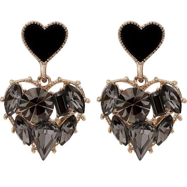 2020 New Arrival Trendy Grey Crystal Love Heart Dangle Earrings For Women Sweet Fashion Jewelry Fashion Oorbellen 5