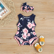PatPat 2020 New Summer One Pieces Pretty Floral Pattern Bodysuit and Headband Set for Baby Girl stars and stripe pattern bodysuit