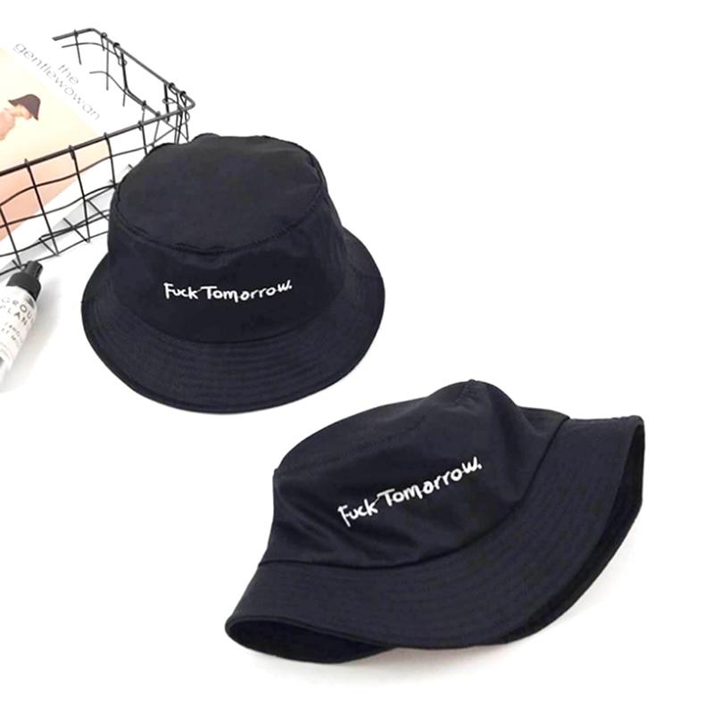 Men Women Girls Funny Embroidery Letter Wide Brim Bucket Hat Summer Casual Harajuku Hip Hop Student Sports Fisherman Cap
