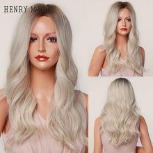 Генри MARGU с эффектом деграде (переход от темного к коричневый платиновый блонд парики средняя часть Волнистые Синтетические парики для Для ...