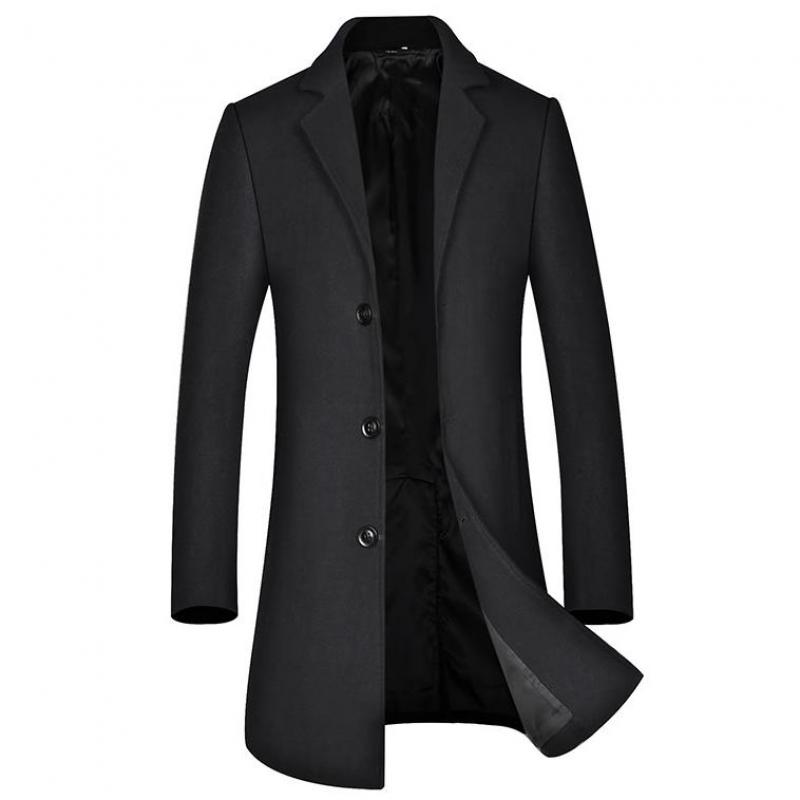 Trench Luxury Wool Solid Color Single Breasted Mens Jackets Autumn Winter Business And Casual Man Coats