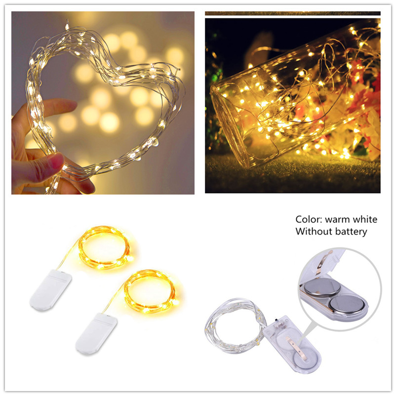 1m Garland Decorative Light Copper Wire CR2032 Battery Operated LED String Fairy Lights Christmas Wedding Party Decoration Natal