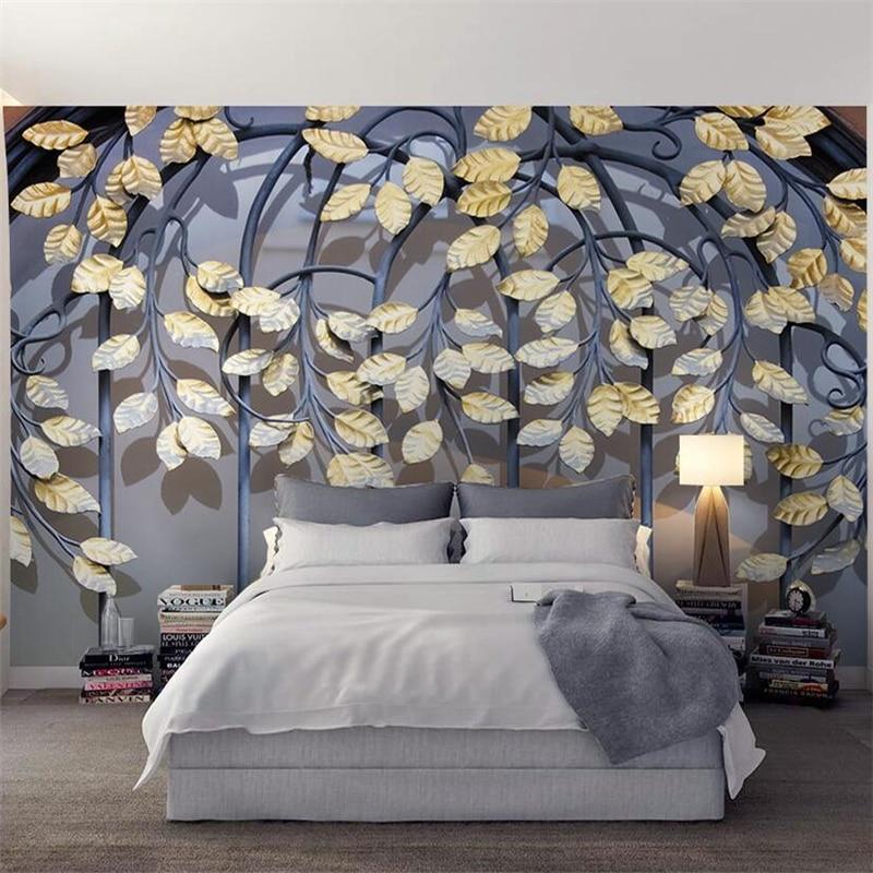 Beibehang-Custom-Retro-Iron-Golden-Leaf-3d-Modern-TV-Wall-Custom-Large-Mural-Green-Wallpaper-papel (1)