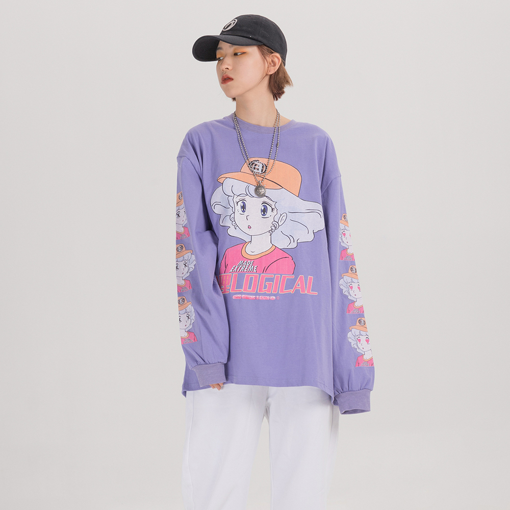 EXTREME Long Sleeve Harajuku Kawaii Clothes Oversized Japanese Streetwear Cartoon T Shirt Women Cute Kawaii Shirt 2020 Clothing