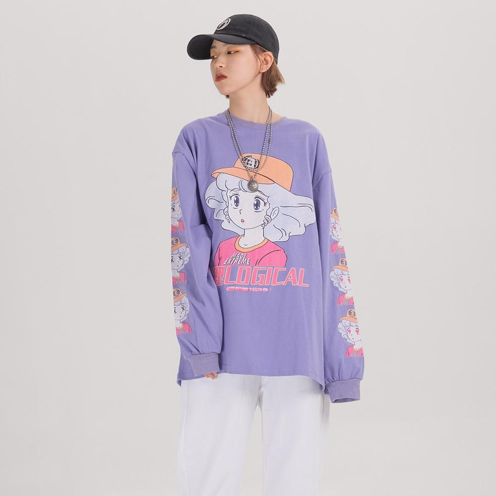 EXTREME Long Sleeve Harajuku Kawaii Clothes Oversized Japanese Streetwear Cartoon T Shirt Women Cute Kawaii Shirt 2020 Clothing