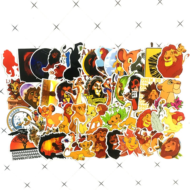 TD ZW 50Pcs Funny Simba The Lion King Stickers Waterproof Decal Laptop Motorcycle Luggage Snowboard Fridge Phone Car Sticker(China)