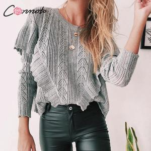 Image 2 - Conmoto Women Autumn Winter Knitted Sweaters Fashion Hollow Out Crochet Pullovers 2019 Female Ruffle Long Sleeve Jumpers Tops