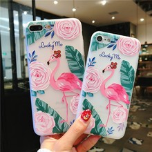 For Iphone 7 8 Plus 6s Transparent Embossed Flamingo Pattern Phone Case For IPhone X XS 7 8 Plus 6 6S Soft Silicone Cover Case