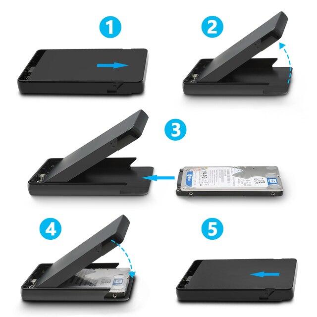 Rocketek HDD Caso 2.5 pollici SATA a USB 3.0 SSD Adattatore Hard Disk Drive Box Esterno HDD per Notebook desktop PC 2