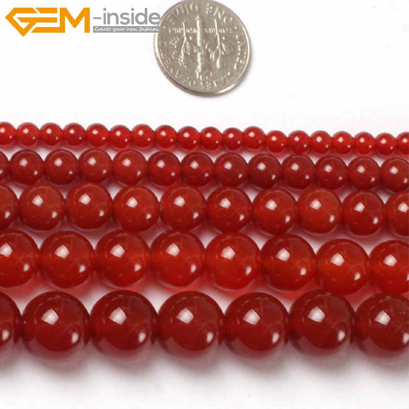 Permata-Di Dalam 4-18 Mm Alam Batu Manik-manik Bulat Merah Agates Beads untuk Perhiasan Membuat Manik-manik Carnelian Onyx 15 ''Diy Beads Hadiah