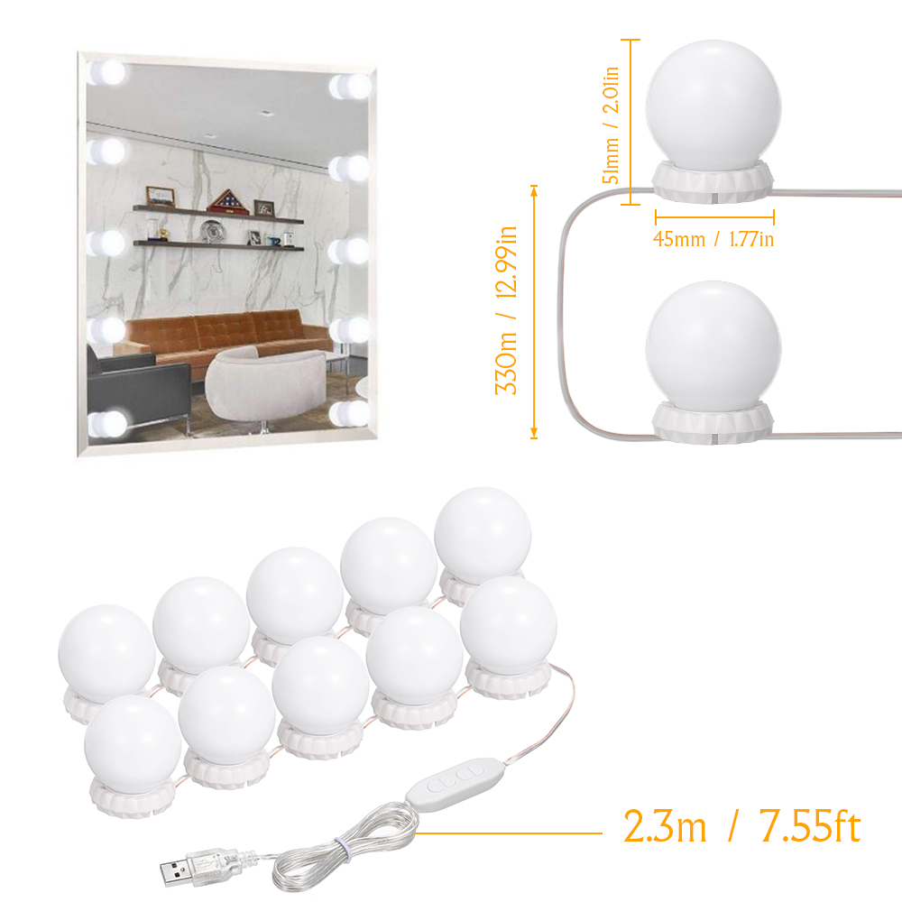 Makeup Vanity Cabinet Mirror Lights Make Up Light Vanity Light Professional Makeup Full Powered Lamp Super Bright 4 LED Bulbs