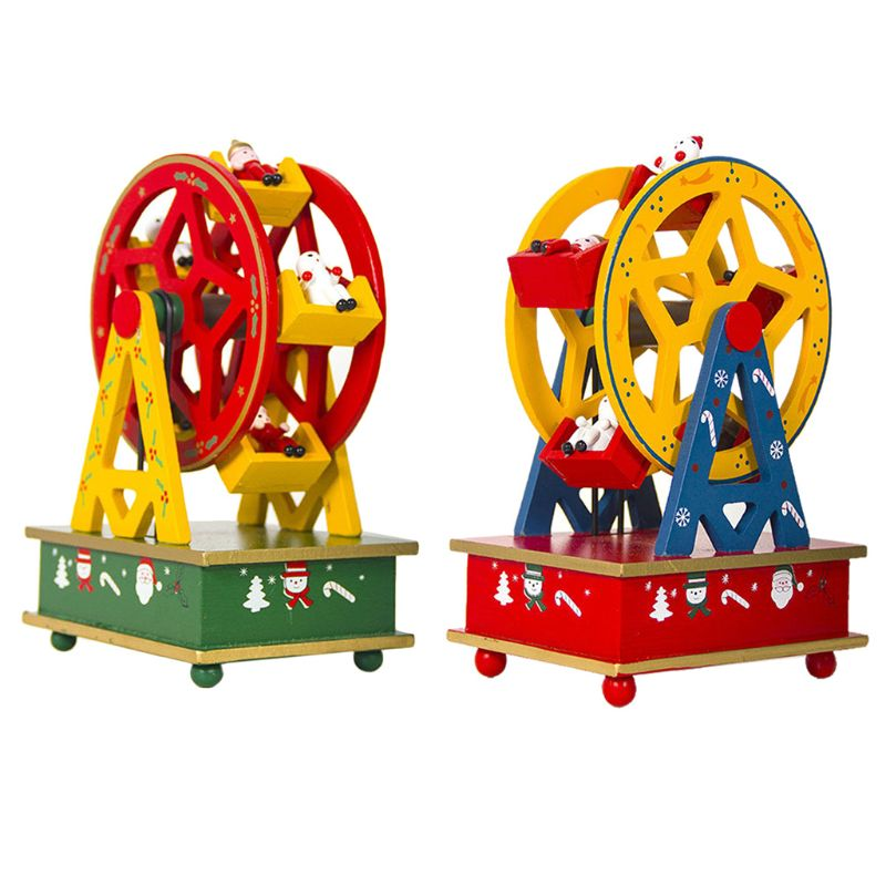 New Wooden Painted Christmas Music Box Xmas Children Gift Table Home Decorations R9UE