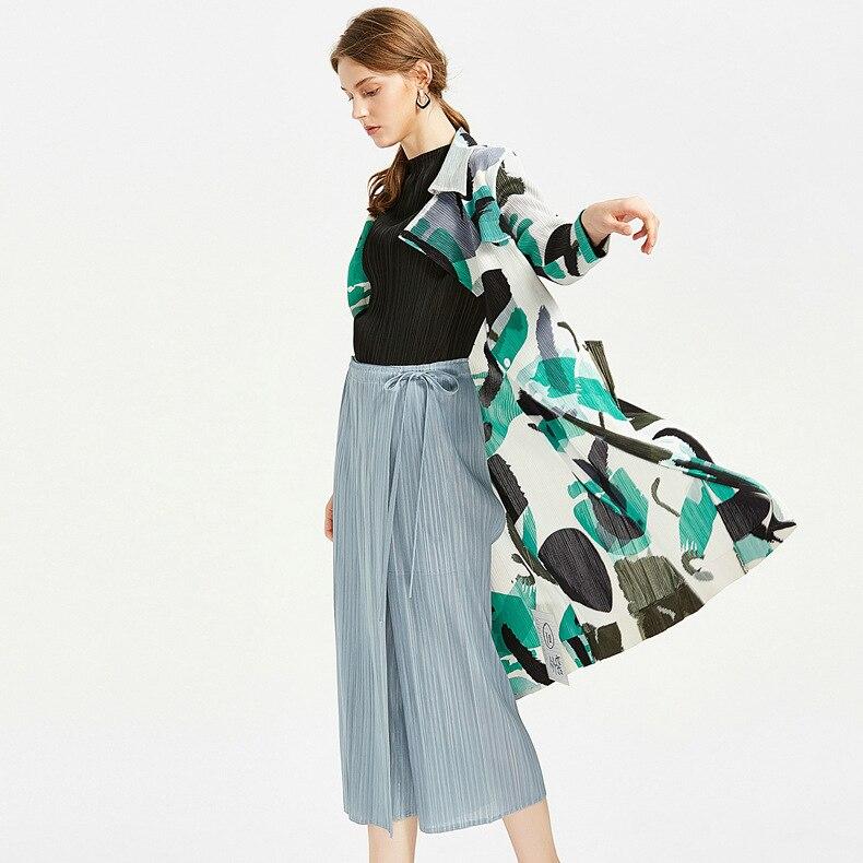 Miyake 2019 New Style Comfortable Casual   Pants   Women's   Capri   Straight-leg   Pants   Japanese-style Pleated Lace-up Culottes Women's