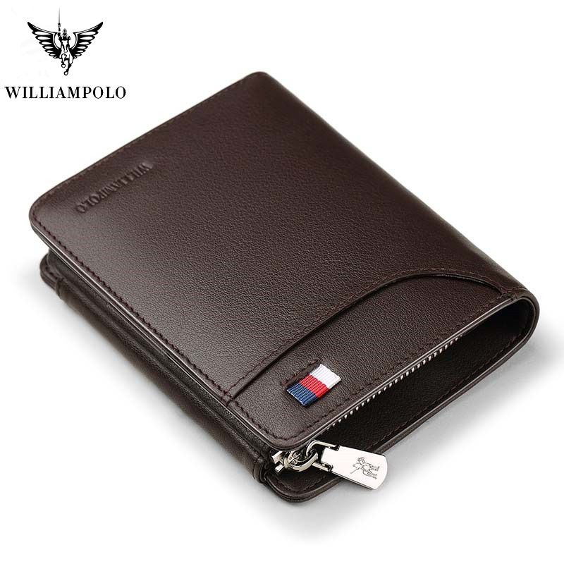 WILLIAMPOLO Trifold Wallet Pocket Purse Pl297 Luxury Brand Zip-Coin Men