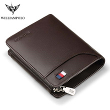 WILLIAMPOLO Genuine Leather Men Wallets Luxury Brand Trifold  Wallet Zip Coin Pocket Purse Cow Leather Wallet Mens Pl297 new brand contact s crazy horse genuine real natural cow leather brown coin trifold wallet pocket purse dollar price for men