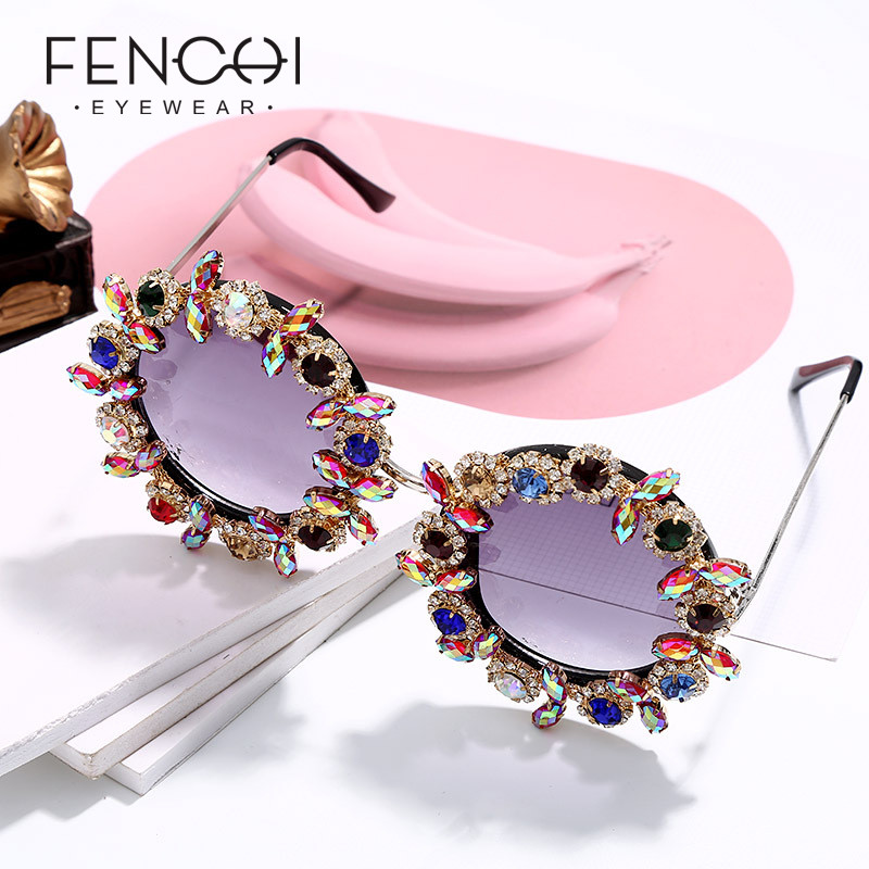 Oversized Luxury Rhinestone Women Sunglasses 2019 Retro Trendy Brand Designer Round Sun Glasses Matel Flame Zonnebril Dames