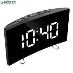 7 дюймов для детей Спальня изогнутые с регулируемой яркостью с серой зеркальной поверхностью светодиодный Экран цифровые часы-будильник до...