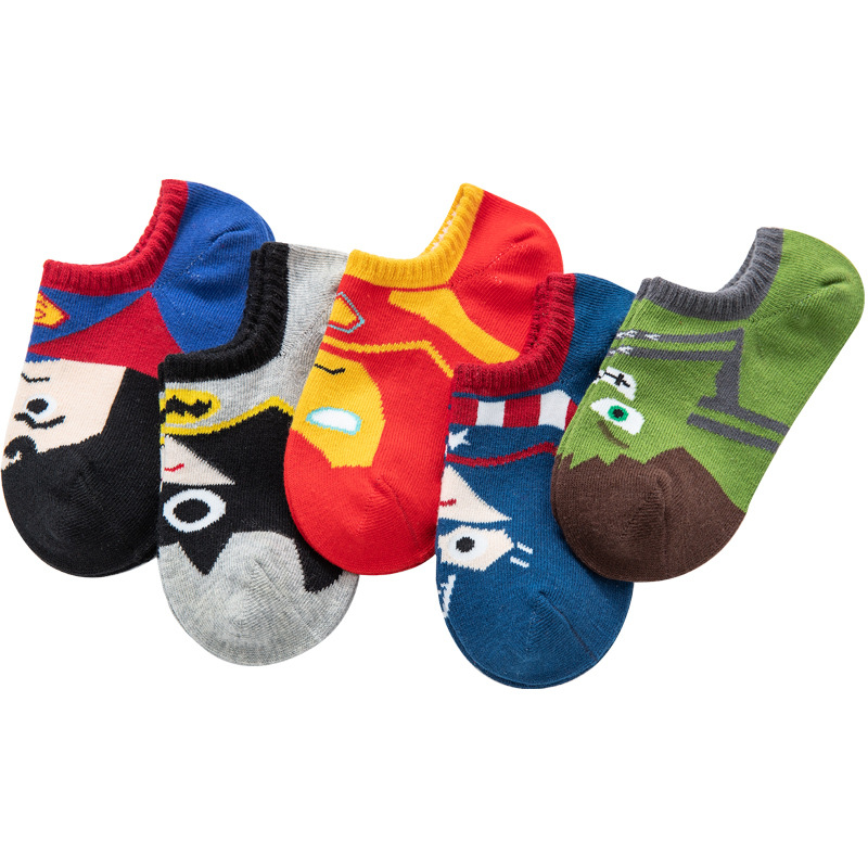 5 Pairs/lot Baby Boy Socks Cartoon Hero Pattern Breathable Summer Thin Kid Socks Pure Cotton 1-9 Years Baby Clothes Accessories