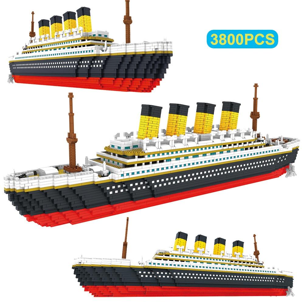 3800 pçs blocos titanic navio de cruzeiro modelo de barco diy montar blocos de construção clássico tijolo brinquedos presente natal para crianças