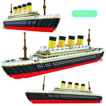 3800PCS Blocks Titanic Cruise Ship Model Boat Model DIY Assemble Building Blocks Classical Brick Toys Xmas Gift For Children assembled ship 14214 color separation model titanic model ship