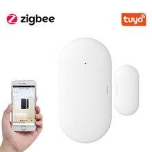 Tuya-Sensor de contacto inteligente ZigBee para puerta y ventana detectores de puerta inalámbricos para el hogar, alarma de aplicación remota para abrir/cerrar