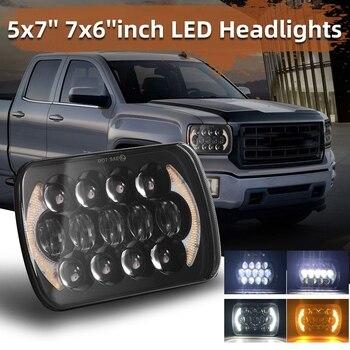 (PAR) 210W 5X7 pulgadas 7X6 pulgadas proyector de luz alta baja faros Led con ojos de Ángel DRL para Chevrolet Jeep Cherokee XJ H6054 H5