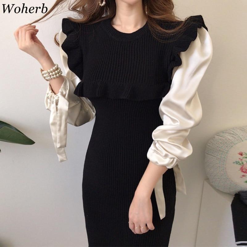 Woherb Korean Chic Dress Women Fake Two Piece Slim Midi Knitted Dresses Ladies Vintage Elegant Long Puff Sleeve Party Vestidos