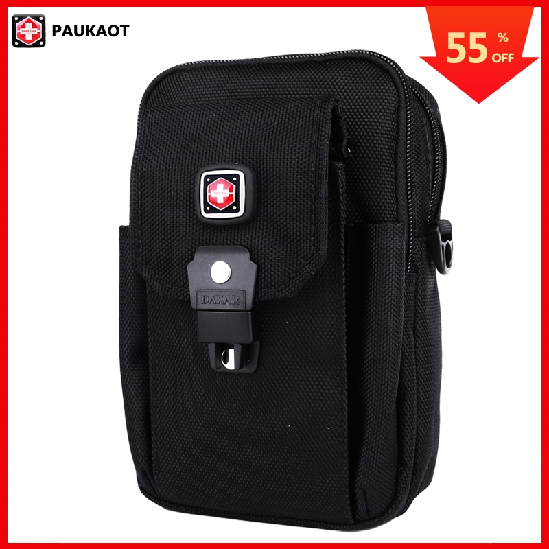 PAUKAOT Men Casual Waist Pack Black Belt Bag Nylon Cell Phone Fanny Bum Hip Bag Waterproof Zipper Pouch Purse