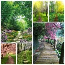 Laeacco primavera backdrops cenário natural florescendo árvores floresta caminho de madeira bebê retrato fotografia fundos estúdio foto
