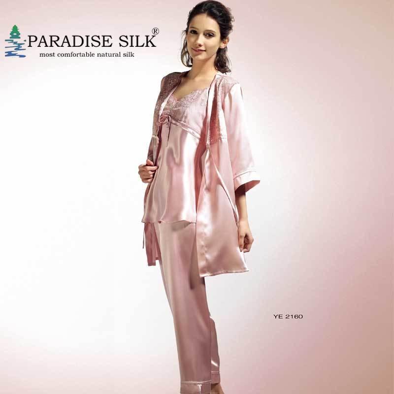 Pajama Set 100% Pure Silk Womens Robe Pyjamas Short 3PCS Set Size M L XL