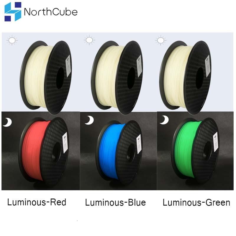 Glow In The Dark Filament 3D Printer filament Pla Material 3D Plastic 1.75 mm Printer Luminous Filament 1Kg red green blue