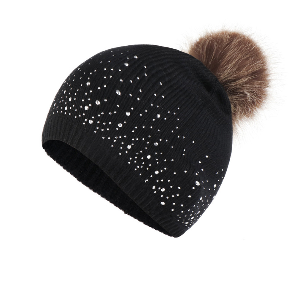 Women Casual Outdoor Warm Fashion Elastic Hemming Soft Rhinestone Studded Windproof Plush Ball Daily Knitted Hat Autumn Winter