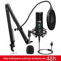 Micrófono USB MAONO PM421 de 192KHZ/24 bits, condensador cardioide profesional, micrófono Podcast con silencio de un solo toque y botón de ganancia de micrófono
