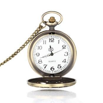 Retro Design Hollow Gear Fob Watch Vintage Bronze Pocket Watch Necklace Chain Pendant A66