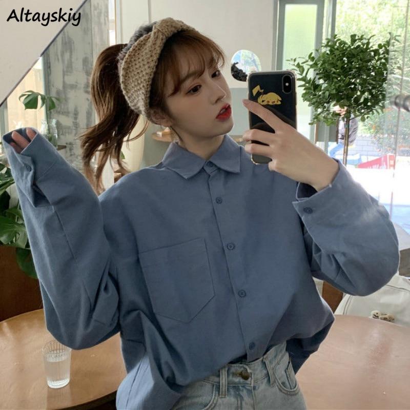 Shirts Women Solid Pocket Spring Fashion New Korean Style Leisure Loose All-match Elegant Oversize Harajuku Womens Long Sleeves