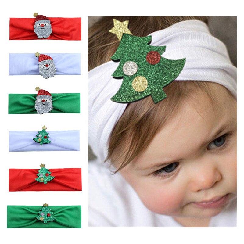 Baby Christmas Headband Girsls Cute Cartoon Santa Claus Elastic Headwear Soft Newborn Hair Band Hair Accessories Haarband