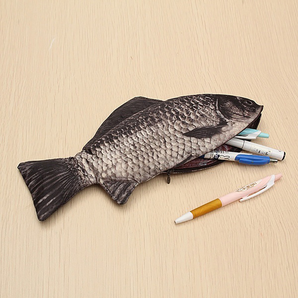 Creative Carp Pen Bag Realistic Fish Shape Make-Up Pouch Pen Pencil Case With Zipper Storage Bag Cute Funny Mischief L*5