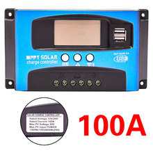30/40/50/60/100A MPPT Solar Charge Controller Dual USB LCD Display 12V 24V Auto Solar Cell Panel Charger Regulator With Load