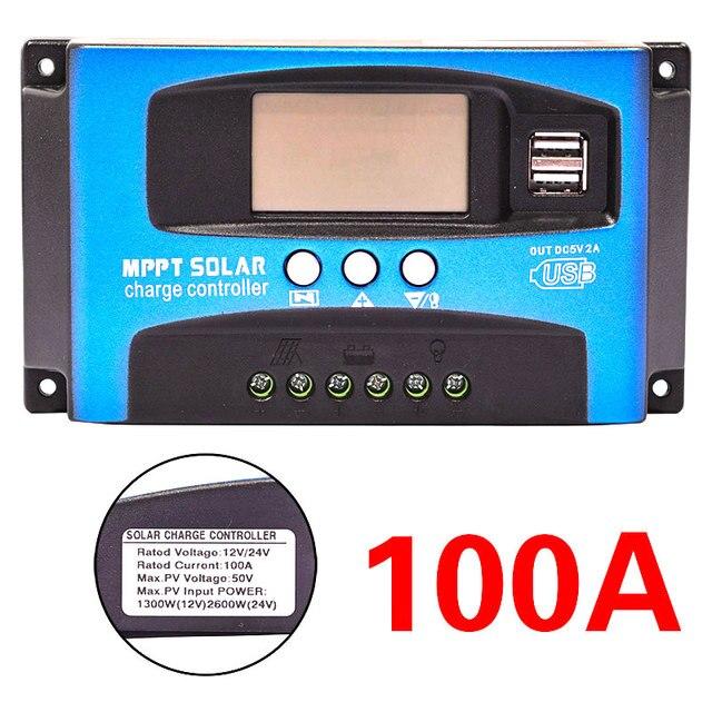 30/40/50/60/100A MPPT שמש תשלום בקר כפולה USB LCD תצוגת 12V 24V אוטומטי שמש פנל מטען רגולטור עם עומס
