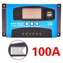 30/40/50/60/100A MPPT الشمسية جهاز التحكم في الشحن المزدوج USB شاشة الكريستال السائل 12 فولت 24 فولت السيارات ألواح خلايا شمسية شاحن منظم مع تحميل