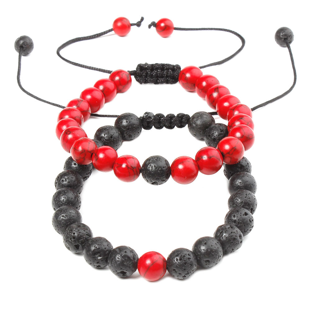 2Pcs Set Couples Bracelet Set Romantic Red Black Lava Stone Bead Charm Adjustable Hand Jewelry Gift DropShipping in Charm Bracelets from Jewelry Accessories