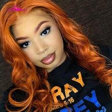 Ali Coco13x4 głębokie część brazylijski ciało fala włosów ludzkich peruk 150% pomarańczowy imbir kolorowe koronki peruka Front dla czarnych kobiet wstępnie oskubane