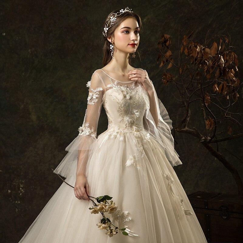Vestidos De Alfombra Roja Celebrity Dress Wedding Dress 2020 New Bridal Luxury One Word Shoulder Lace Waistband Slim Long Tail