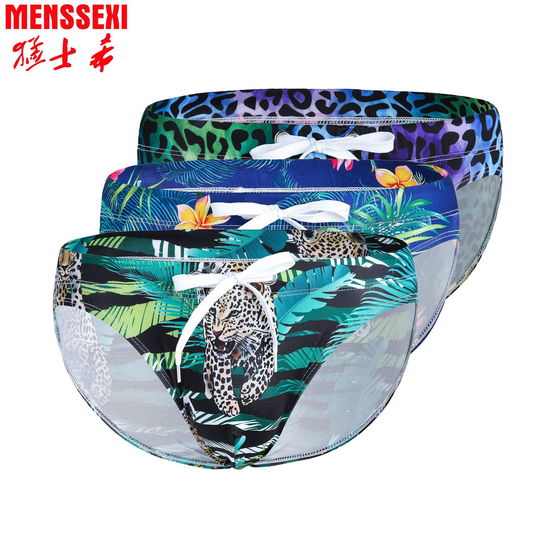 Hot Sales 2019 New Style MEN'S Swimming Trunks Low Waist Triangle Animal Flower Digital Printing Europe And America