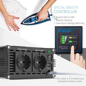 Image 4 - EDECOA power inverter 12V 220V 1500W pure sine wave 12V to AC 220V 230V off grid converter with remote control