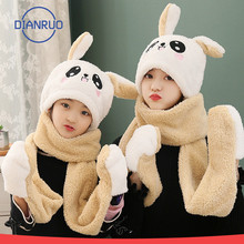 Hat Scarf Warm Rabbit Autumn Winter Woman Child Can And DIANRUO Q492 Glove Ear-Hat Parent