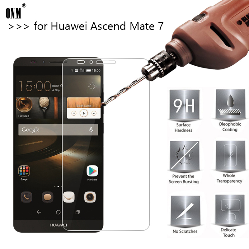 2.5D 0.26mm 9H Premium Tempered Glass For Huawei Ascend Mate 7 Screen Protector Toughened Protective Film For Huawei Mate 7 *